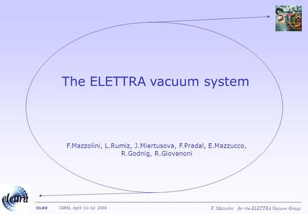 F. Mazzolini for the ELETTRA Vacuum Group OLAV CERN, April 11–12 2005 The ELETTRA vacuum system F.Mazzolini, L.Rumiz, J.Miertusova, F.Pradal, E.Mazzucco,