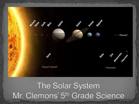 To discover the wonders that the cosmos can unlock. Students will be able to: Identify what can be found in the Solar System Compare and Contrast the.