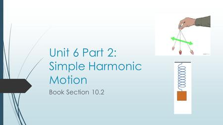 Unit 6 Part 2: Simple Harmonic Motion Book Section 10.2.