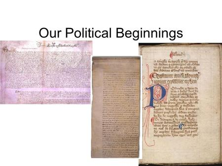 Our Political Beginnings. Basic Concepts of Government Ordered Government: –The first English colonists saw a Limited Government: –Government is limited.