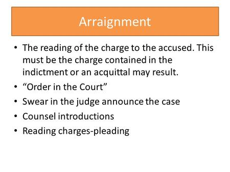 "Arraignment The reading of the charge to the accused. This must be the charge contained in the indictment or an acquittal may result. ""Order in the Court"""