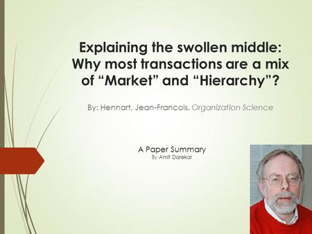 "Explaining the swollen middle: Why most transactions are a mix of ""Market"" and ""Hierarchy""? By: Hennart, Jean-Francois. Organization Science A Paper Summary."