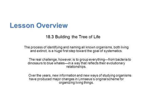Lesson Overview Lesson Overview Building the Tree of Life Lesson Overview 18.3 Building the Tree of Life The process of identifying and naming all known.