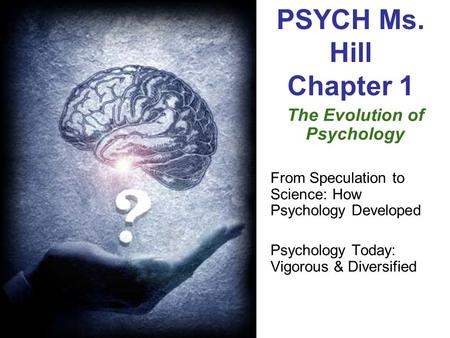 PSYCH Ms. Hill Chapter 1 The Evolution of Psychology From Speculation to Science: How Psychology Developed Psychology Today: Vigorous & Diversified.