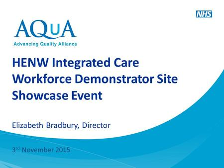 HENW Integrated Care Workforce Demonstrator Site Showcase Event Elizabeth Bradbury, Director 3 rd November 2015.