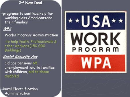 -programs to continue kelp for working class Americans and their families -WPA Works Progress Administration -to help Youth, Professionals & other workers.