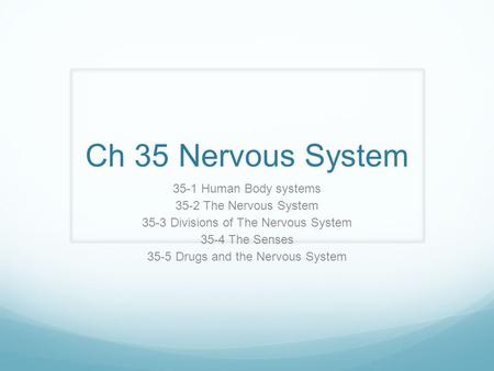 Ch 35 Nervous System 35-1 Human Body systems 35-2 The Nervous System 35-3 Divisions of The Nervous System 35-4 The Senses 35-5 Drugs and the Nervous System.