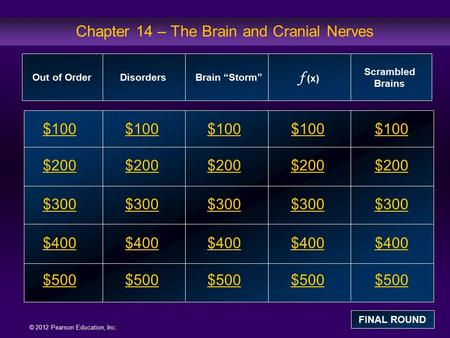 © 2012 Pearson Education, Inc. Chapter 14 – The Brain and Cranial Nerves $100 $200 $300 $400 $500 $100$100$100 $200 $300 $400 $500 Out of OrderDisordersBrain.
