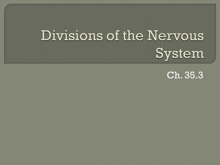 Ch. 35.3.  Neurons join together to form a complex network; NERVOUS SYSTEM  2 major sections Central nervous system (CNS) Peripheral nervous system.