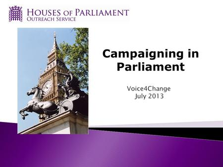 Campaigning in Parliament.  This session will cover:  A brief recap of Parliament's role  MPs and Members of the House of Lords  What MPs and Lords.