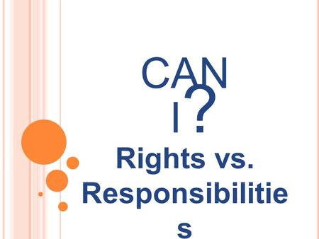 Rights vs. Responsibilitie s CAN I?I?. RIGHTS Definition: Things that you are allowed to do because of nature or because of law.