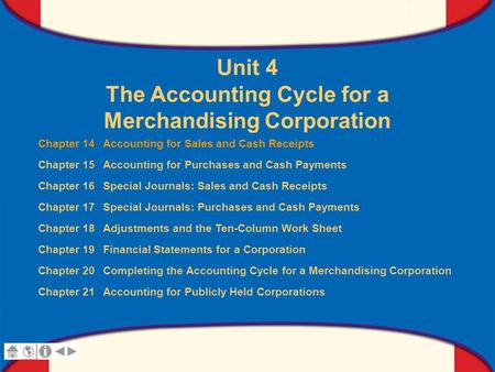 0 Glencoe Accounting Unit 4 Chapter 14 Copyright © by The McGraw-Hill Companies, Inc. All rights reserved. Unit 4 The Accounting Cycle for a Merchandising.