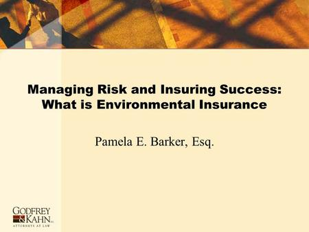 Managing Risk and Insuring Success: What is Environmental Insurance Pamela E. Barker, Esq.