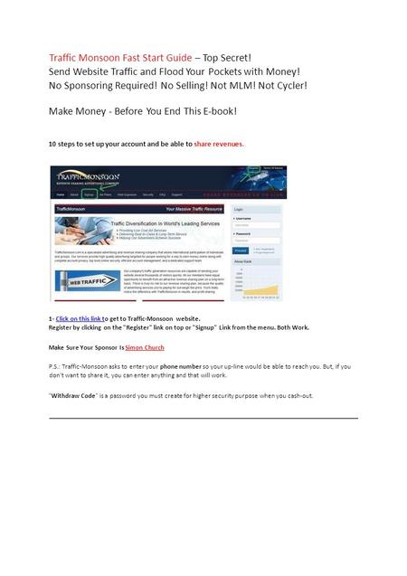 Traffic Monsoon Fast Start Guide – Top Secret! Send Website Traffic and Flood Your Pockets with Money! No Sponsoring Required! No Selling! Not MLM! Not.
