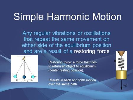 Any regular vibrations or oscillations that repeat the same movement on either side of the equilibrium position and are a result of a restoring force Simple.
