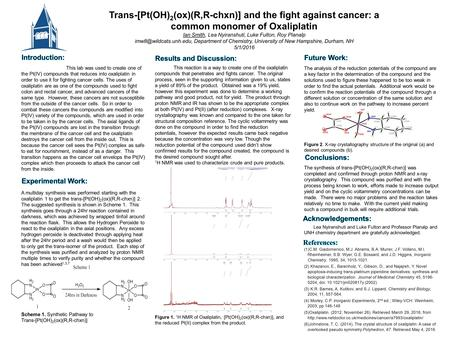 Trans-[Pt(OH) 2 (ox)(R,R-chxn)] and the fight against cancer: a common monomer of Oxaliplatin Ian Smith, Lea Nyiranshuti, Luke Fulton, Roy Planalp