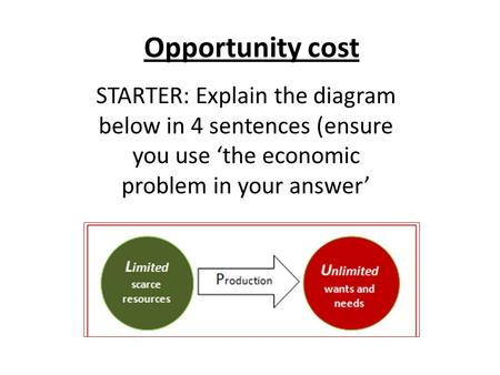 Opportunity cost STARTER: Explain the diagram below in 4 sentences (ensure you use 'the economic problem in your answer'