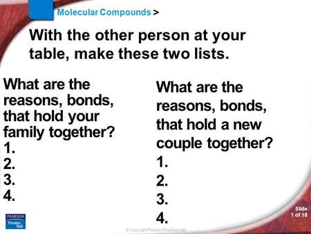 © Copyright Pearson Prentice Hall Molecular Compounds > Slide 1 of 18 With the other person at your table, make these two lists. What are the reasons,