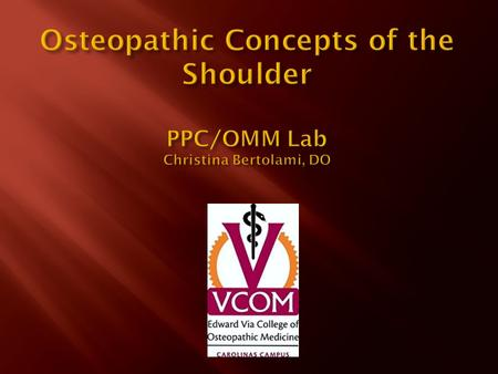  Review relevant anatomy of the shoulder  Demonstrate a shoulder exam: Inspection, Palpation, Rom, strength, and instability testing  Discuss physical.
