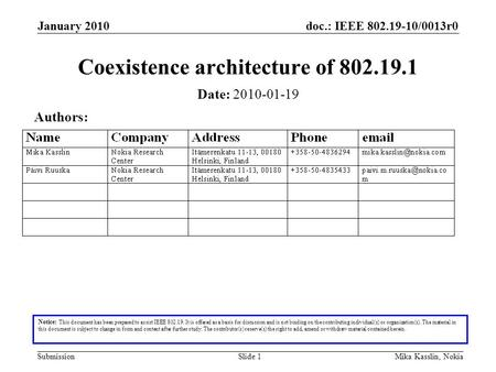 Doc.: IEEE 802.19-10/0013r0 Submission January 2010 Mika Kasslin, NokiaSlide 1 Coexistence architecture of 802.19.1 Notice: This document has been prepared.