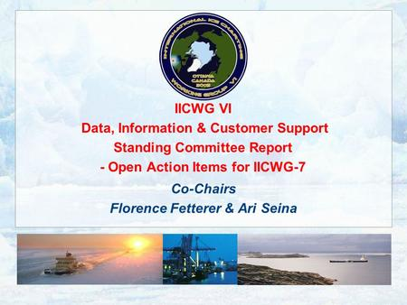 IICWG VI Data, Information & Customer Support Standing Committee Report - Open Action Items for IICWG-7 Co-Chairs Florence Fetterer & Ari Seina.