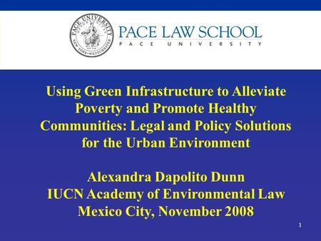 1 Using Green Infrastructure to Alleviate Poverty and Promote Healthy Communities: Legal and Policy Solutions for the Urban Environment Alexandra Dapolito.