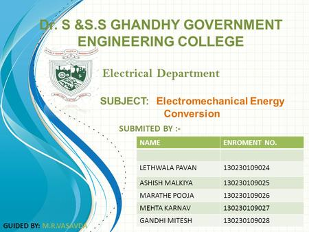Dr. S &S.S GHANDHY GOVERNMENT ENGINEERING COLLEGE