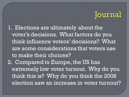 1. Elections are ultimately about the voter's decisions. What factors do you think influence voters' decisions? What are some considerations that voters.