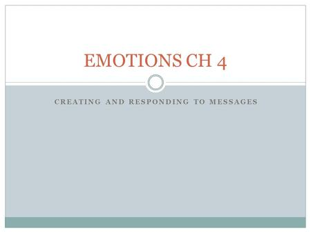 CREATING AND RESPONDING TO MESSAGES EMOTIONS CH 4.