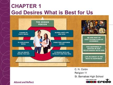 CHAPTER 1 God Desires What is Best for Us C. N. Colón Religion 11 St. Barnabas High School.