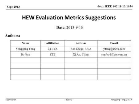 Doc.: IEEE 802.11-13/1054 Sept 2013 SubmissionYonggang Fang, ZTETX HEW Evaluation Metrics Suggestions Date: 2013-9-16 Slide 1 Authors: NameAffiliationAddressEmail.