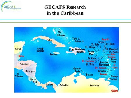GECAFS Research in the Caribbean. Regional Characteristics Many small island states Diverse cultures, environments and food provision systems Great dependence.