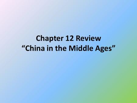 "Chapter 12 Review ""China in the Middle Ages"". 1. Zheng He was most known for what action? Traveling on 7 oversea voyages for the Ming Dynasty."