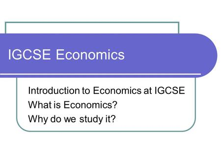 economics notes for igcse