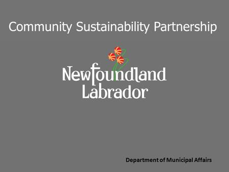 Department of Municipal Affairs Community Sustainability Partnership.