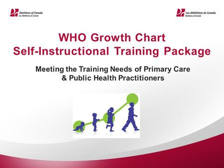 WHO Growth Chart Self-Instructional Training Package Meeting the Training Needs of Primary Care & Public Health Practitioners.