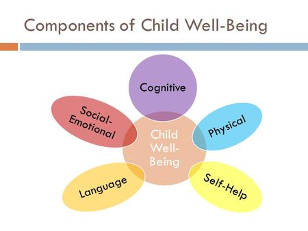 Components of Child Well-Being Child Well- Being Cognitive Physical Self-Help Language Social- Emotional.