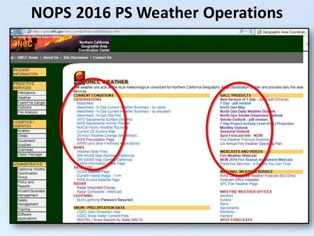 NOPS 2016 PS Weather Operations. ROMAN is GONE! Some workable replacements: MesoWest NWS Plots WIMS DRI.