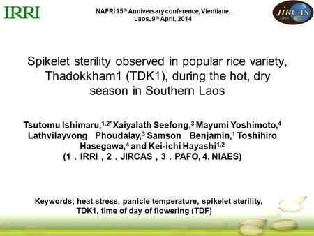 Spikelet sterility observed in popular rice variety, Thadokkham1 (TDK1), during the hot, dry season in Southern Laos Tsutomu Ishimaru, 1,2* Xaiyalath Seefong,