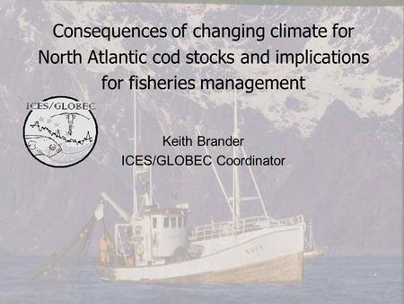 Consequences of changing climate for North Atlantic cod stocks and implications for fisheries management Keith Brander ICES/GLOBEC Coordinator.
