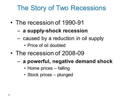 The Story of Two Recessions The recession of 1990-91 – a supply-shock recession – caused by a reduction in oil supply Price of oil doubled The recession.