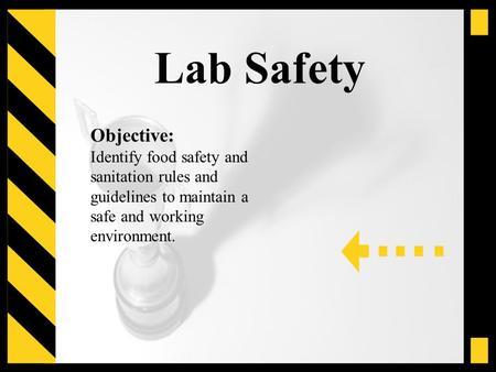 Lab Safety Objective: Identify food safety and sanitation rules and guidelines to maintain a safe and working environment.