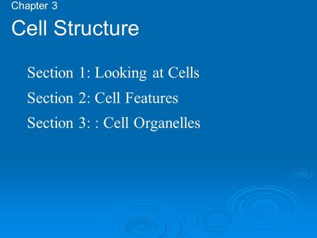 Chapter 3 Cell Structure Section 1: Looking at Cells Section 2: Cell Features Section 3: : Cell Organelles.