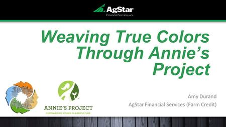 Weaving True Colors Through Annie's Project Amy Durand AgStar Financial Services (Farm Credit) 1.