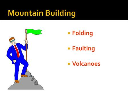  Folding  Faulting  Volcanoes  Most major mountain ranges were formed by the collision of continental plates.