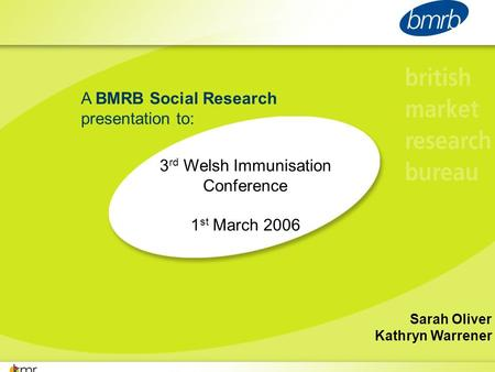 A BMRB Social Research presentation to: 3 rd Welsh Immunisation Conference 1 st March 2006 Sarah Oliver Kathryn Warrener.