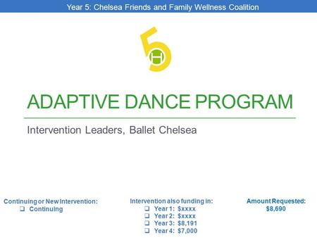 ADAPTIVE DANCE PROGRAM Intervention Leaders, Ballet Chelsea Amount Requested: $8,690 Intervention also funding in:  Year 1: $xxxx  Year 2: $xxxx  Year.