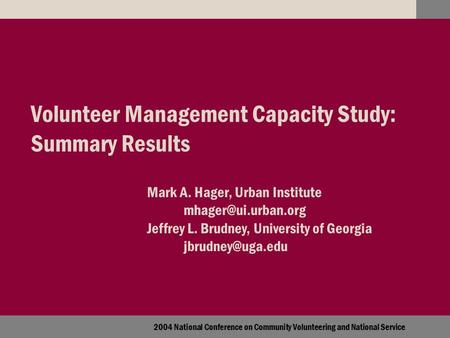 2004 National Conference on Community Volunteering and National Service Volunteer Management Capacity Study: Summary Results Mark A. Hager, Urban Institute.