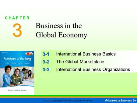 © 2012 Cengage Learning. All Rights Reserved. Principles of Business, 8e C H A P T E R 3 SLIDE 1 3-1 3-1International Business Basics 3-2 3-2The Global.