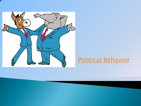 Political Behavior. A political party is a group of persons who seek to control government by winning elections and holding office. The two major parties.